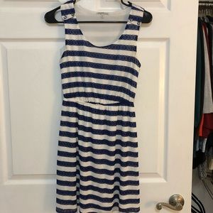Blue lace and white striped dress